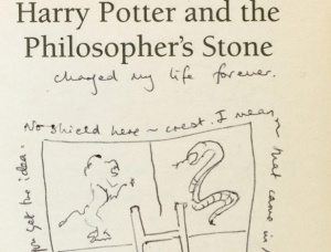 Annotations on first edition of Harry Potter and the Philosopher's Stone